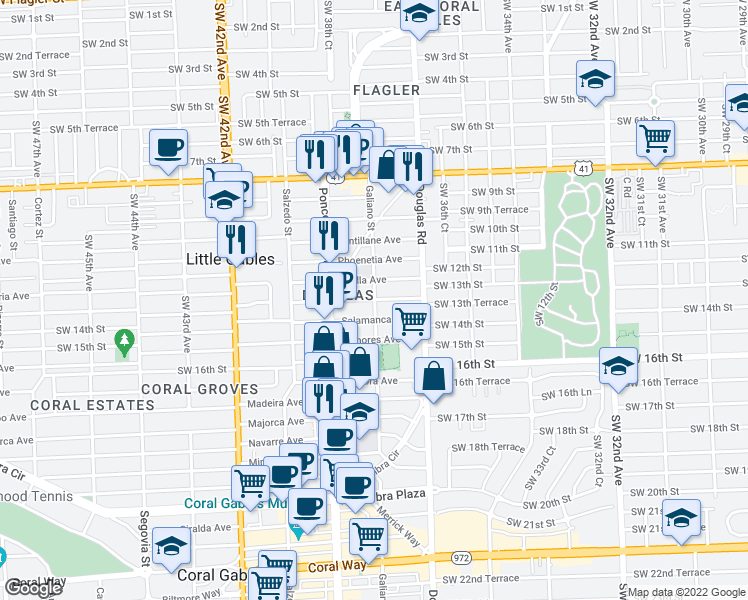 map of restaurants, bars, coffee shops, grocery stores, and more near Sidonia Ave in Coral Gables