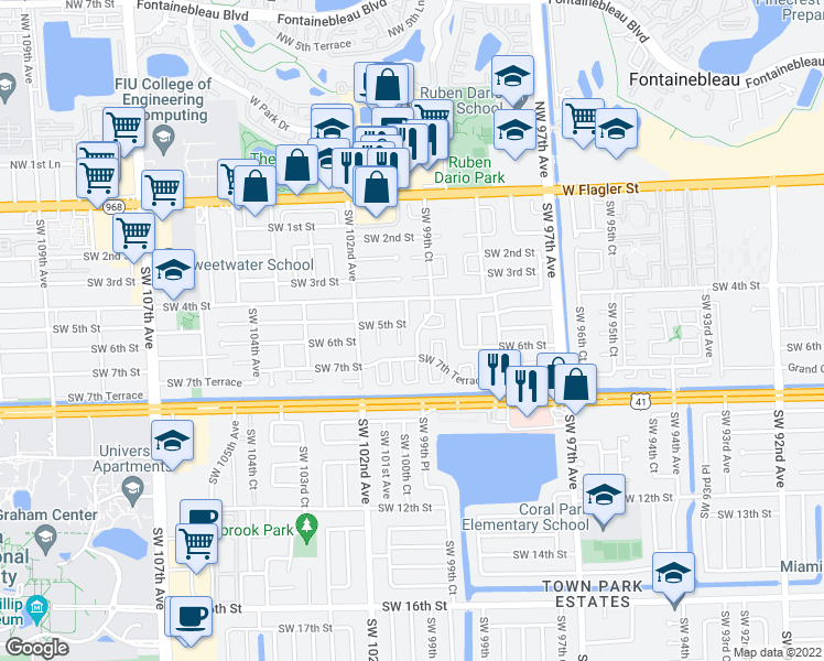 map of restaurants, bars, coffee shops, grocery stores, and more near 512 Southwest 99th Place in Miami