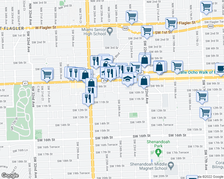 map of restaurants, bars, coffee shops, grocery stores, and more near 930 Southwest 24th Court in Miami