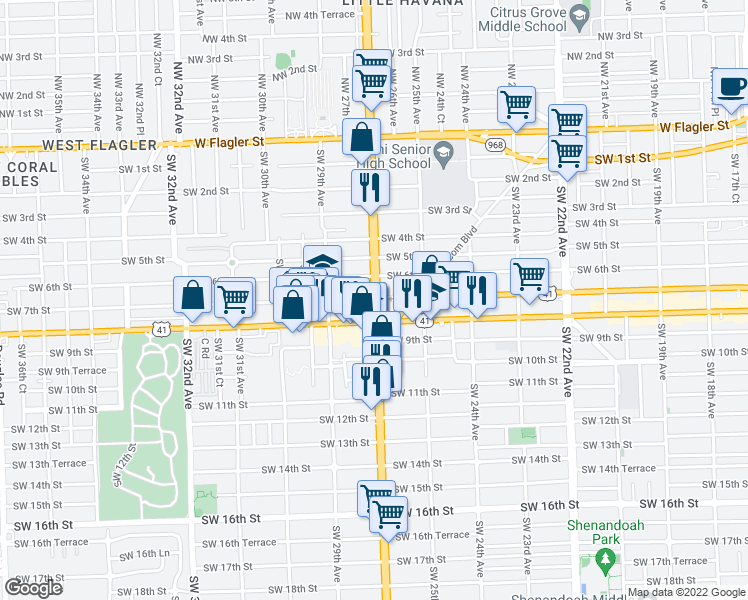 map of restaurants, bars, coffee shops, grocery stores, and more near 700 SW 27th Ave in Miami