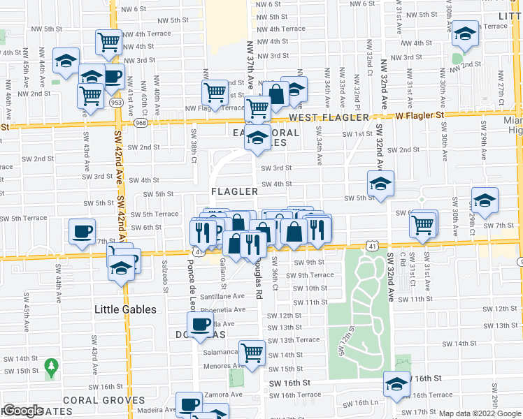map of restaurants, bars, coffee shops, grocery stores, and more near 3659-3691 Southwest 5th Terrace in Miami