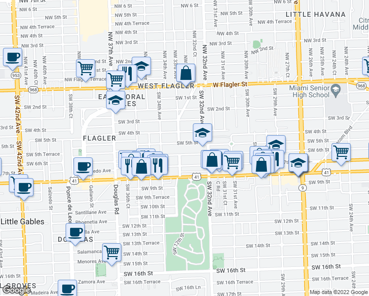map of restaurants, bars, coffee shops, grocery stores, and more near 3255 SW 6th St in Miami