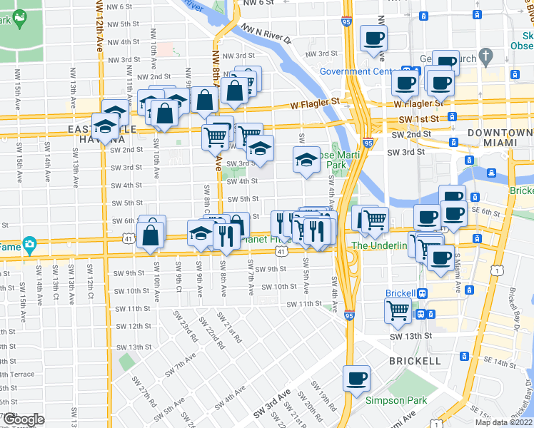 map of restaurants, bars, coffee shops, grocery stores, and more near 619 SW 6th St in Miami