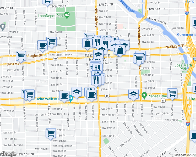 map of restaurants, bars, coffee shops, grocery stores, and more near 1101-1199 Southwest 3rd Street in Miami