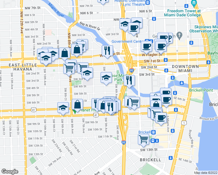 map of restaurants, bars, coffee shops, grocery stores, and more near 450-458 SW 4th St in Miami