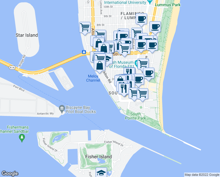 map of restaurants, bars, coffee shops, grocery stores, and more near 90 Alton Road in Miami Beach
