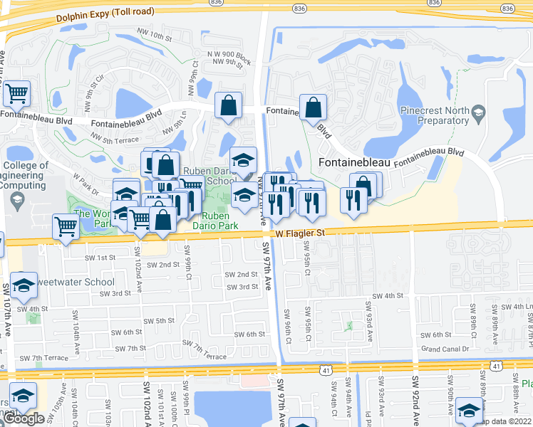 map of restaurants, bars, coffee shops, grocery stores, and more near 100-198 NW 97th Ave in Miami