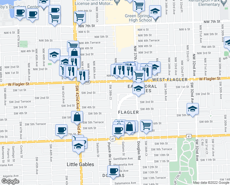 map of restaurants, bars, coffee shops, grocery stores, and more near 200 SW 38th Ct in Coral Gables
