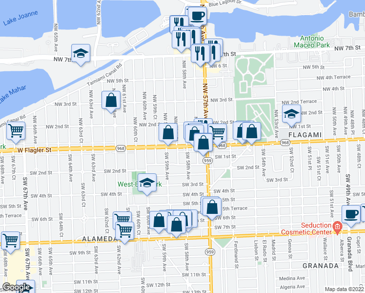 map of restaurants, bars, coffee shops, grocery stores, and more near West Flagler Street in Miami