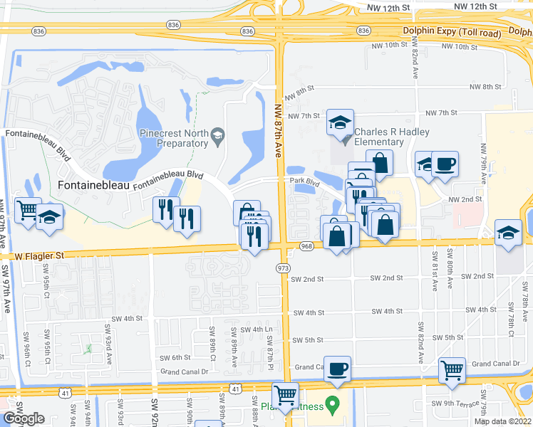 map of restaurants, bars, coffee shops, grocery stores, and more near 30 Northwest 87th Avenue in Miami