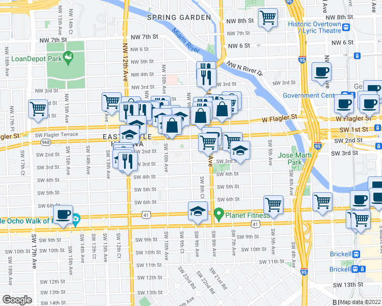 map of restaurants, bars, coffee shops, grocery stores, and more near 900 Southwest 2nd Street in Miami