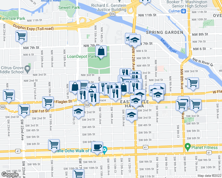 map of restaurants, bars, coffee shops, grocery stores, and more near NW 14th Ave & NW 1st St in Miami