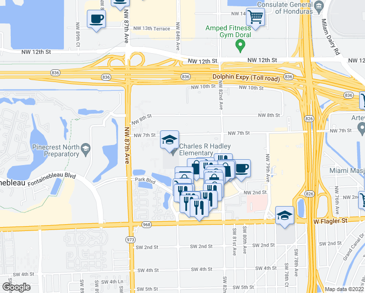 map of restaurants, bars, coffee shops, grocery stores, and more near 8300 NW 7th St in Miami