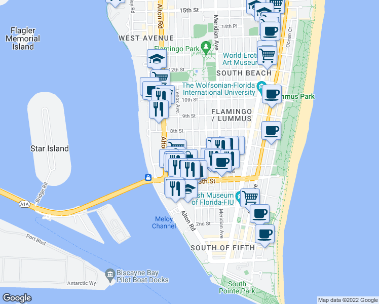 map of restaurants, bars, coffee shops, grocery stores, and more near 22 East Star Island Drive in Miami Beach