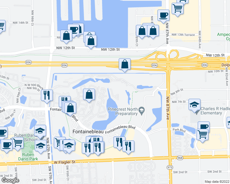 map of restaurants, bars, coffee shops, grocery stores, and more near 9193 Fontainebleau Boulevard in Miami