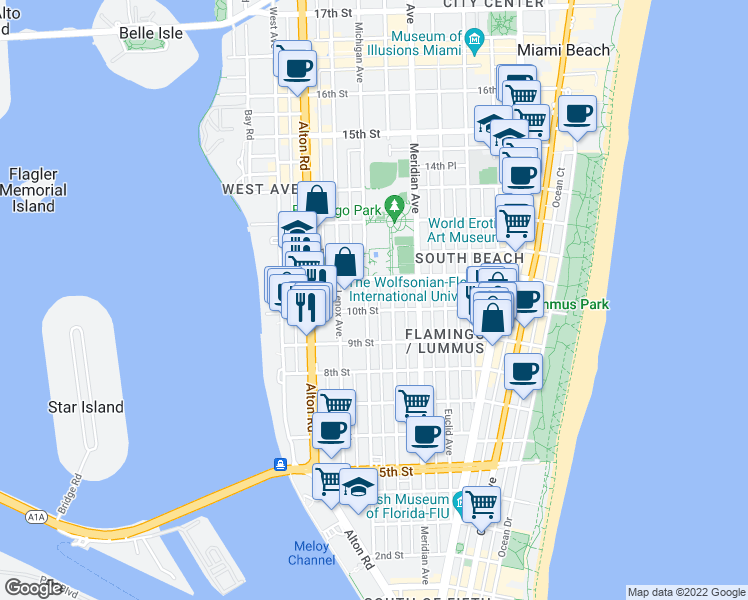 map of restaurants, bars, coffee shops, grocery stores, and more near 1021 Michigan Avenue in Miami Beach
