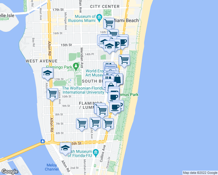 map of restaurants, bars, coffee shops, grocery stores, and more near 1 Washington Avenue in Miami Beach