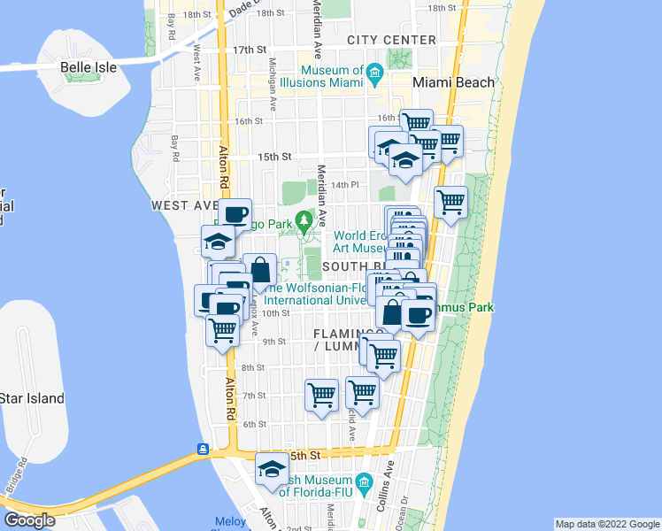 map of restaurants, bars, coffee shops, grocery stores, and more near 739 11th Street in Miami Beach