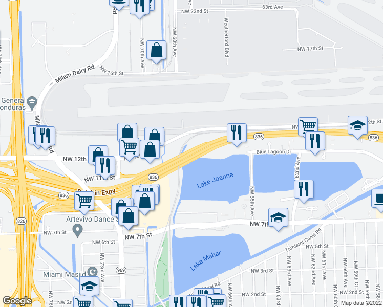 map of restaurants, bars, coffee shops, grocery stores, and more near Dolphin Expy in Miami
