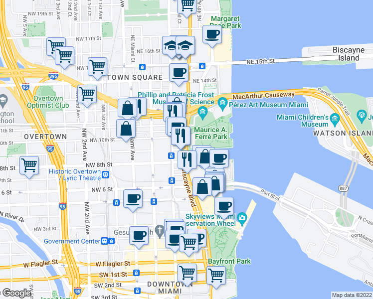 map of restaurants, bars, coffee shops, grocery stores, and more near Biscayne Blvd & NE 9th St in Miami