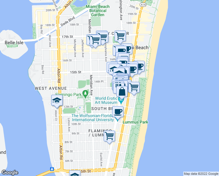 map of restaurants, bars, coffee shops, grocery stores, and more near 1342 Drexel Avenue in Miami Beach