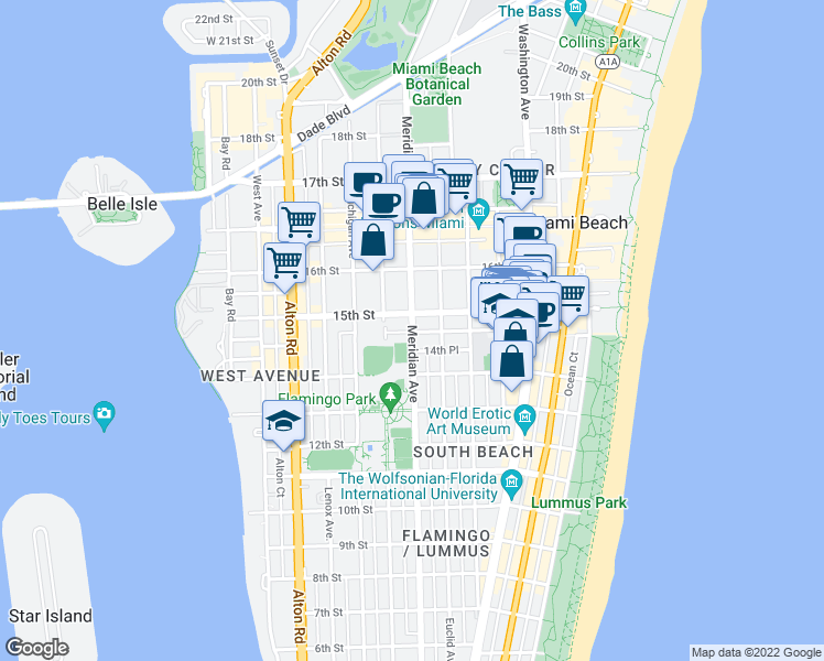 map of restaurants, bars, coffee shops, grocery stores, and more near Meridian Avenue in Miami Beach