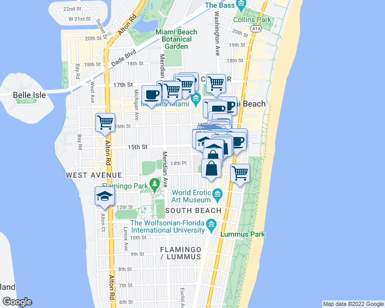 map of restaurants, bars, coffee shops, grocery stores, and more near Espanola Way in Miami Beach