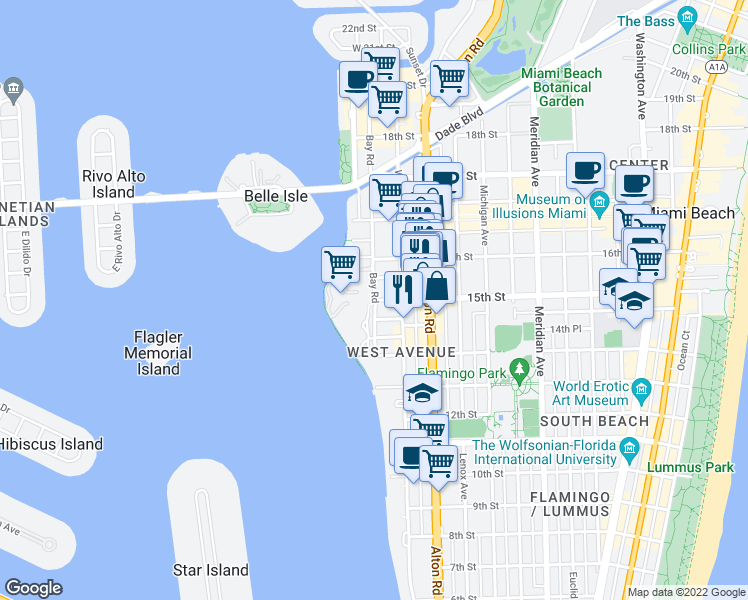 map of restaurants, bars, coffee shops, grocery stores, and more near 15th St & Bay Rd in Miami Beach
