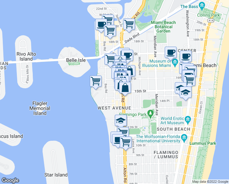 map of restaurants, bars, coffee shops, grocery stores, and more near 15th St & West Ave in Miami Beach