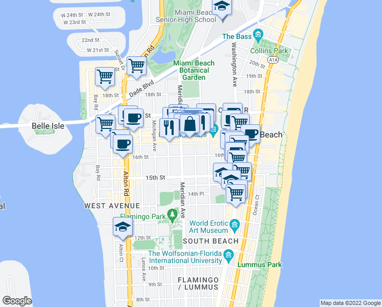 map of restaurants, bars, coffee shops, grocery stores, and more near 1600 Euclid Avenue in Miami Beach