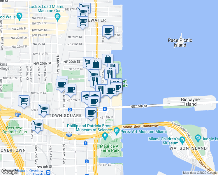 map of restaurants, bars, coffee shops, grocery stores, and more near 1750 North Bayshore Drive in Miami