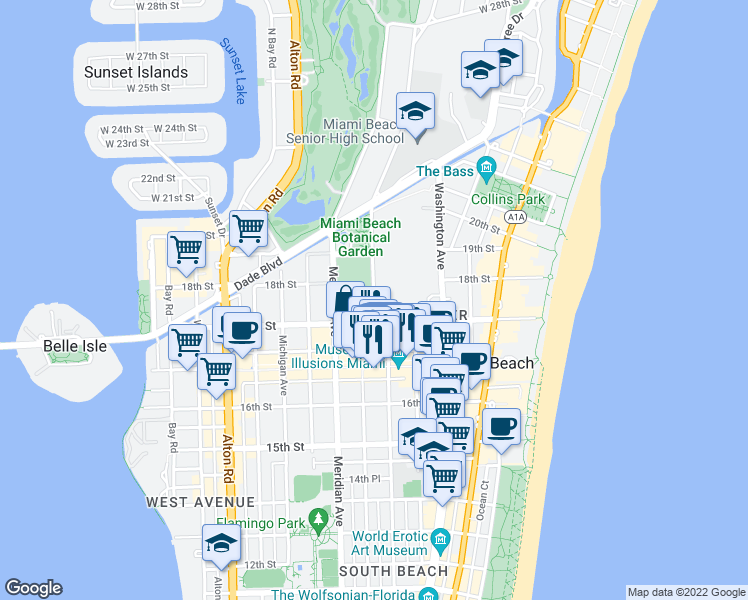 map of restaurants, bars, coffee shops, grocery stores, and more near 1700-1738 Convention Center Drive in Miami Beach