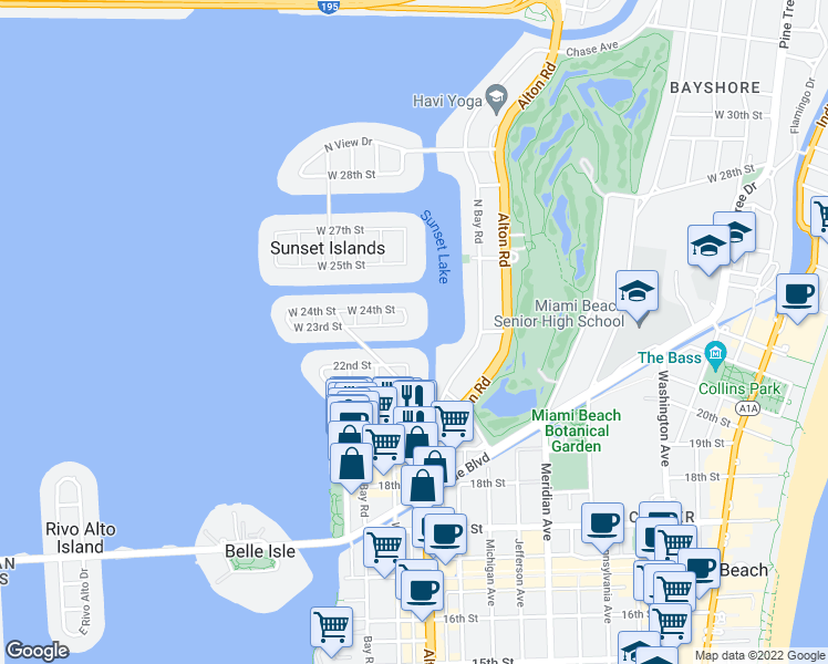 map of restaurants, bars, coffee shops, grocery stores, and more near 2305 Lake Avenue in Miami Beach