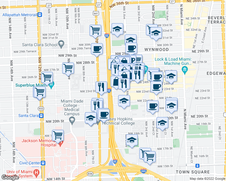 map of restaurants, bars, coffee shops, grocery stores, and more near 601 NW 23rd St in Miami
