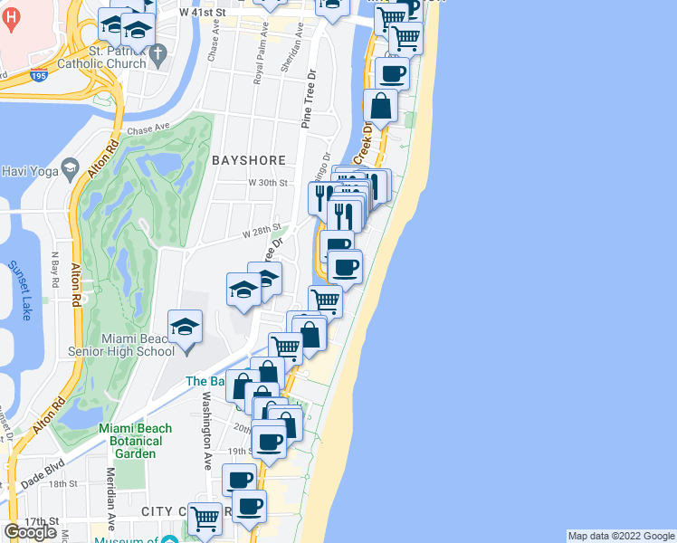 map of restaurants, bars, coffee shops, grocery stores, and more near 2625 Collins Avenue in Miami Beach