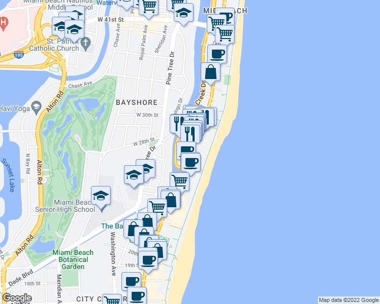 map of restaurants, bars, coffee shops, grocery stores, and more near Collins Ave & 27th St in Miami Beach