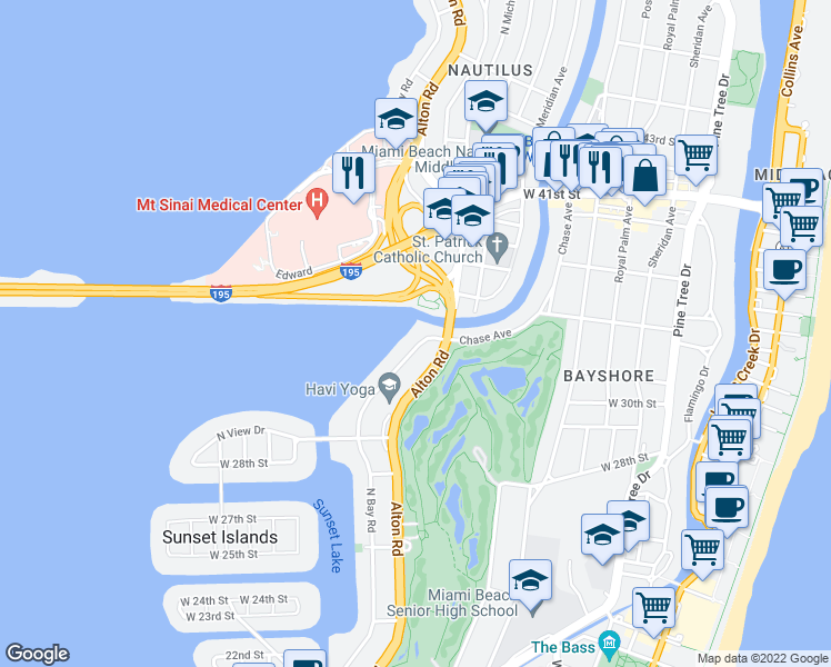 map of restaurants, bars, coffee shops, grocery stores, and more near 3140 North Bay Road in Miami Beach