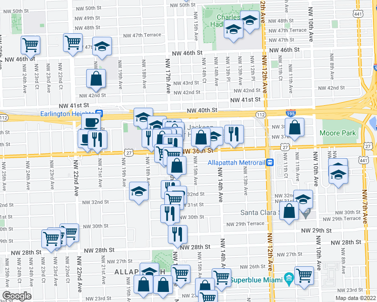 map of restaurants, bars, coffee shops, grocery stores, and more near 1601 Northwest 35th Street in Miami