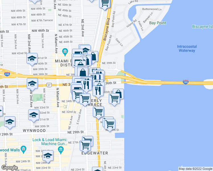 map of restaurants, bars, coffee shops, grocery stores, and more near 402 NE 36th St in Miami