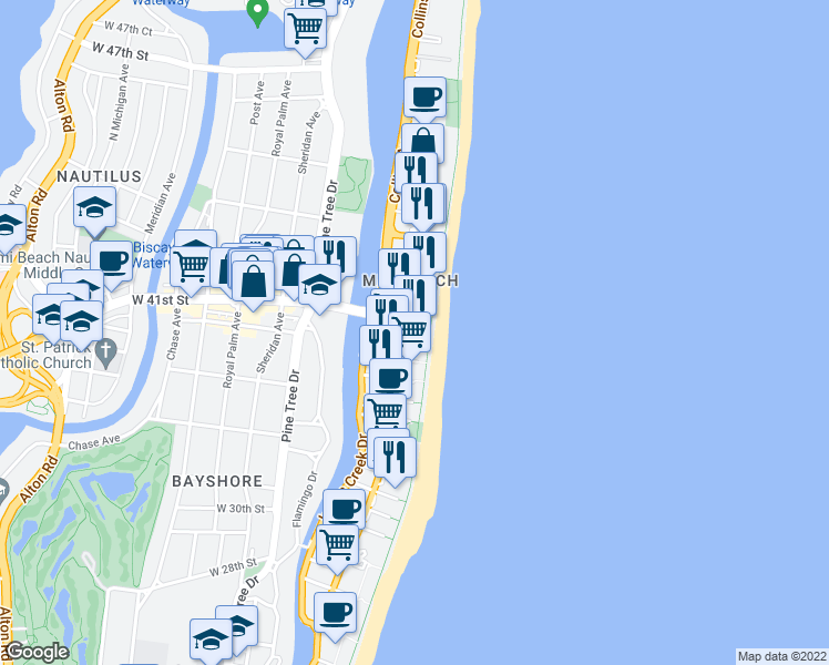 map of restaurants, bars, coffee shops, grocery stores, and more near 4041 Collins Avenue in Miami Beach