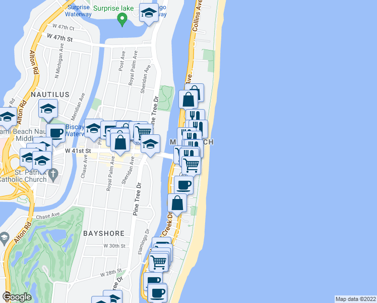 map of restaurants, bars, coffee shops, grocery stores, and more near Collins Ave & 42nd St in Miami Beach