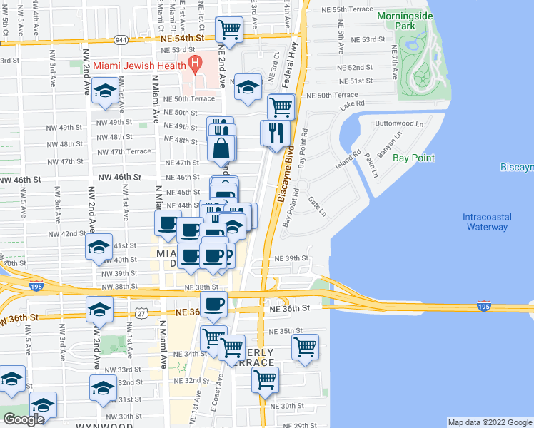 map of restaurants, bars, coffee shops, grocery stores, and more near 4300 Biscayne Boulevard in Miami