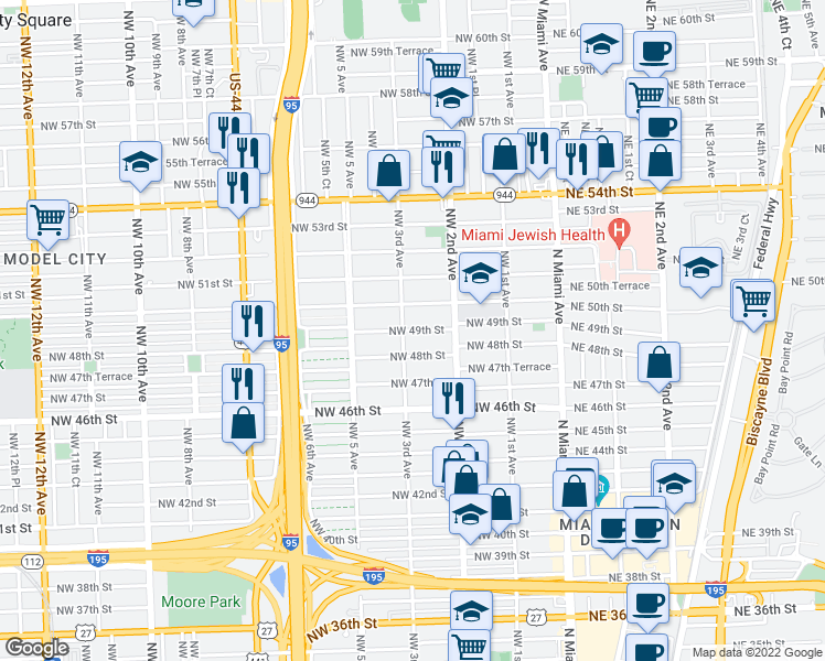 map of restaurants, bars, coffee shops, grocery stores, and more near 4900-4998 Northwest 3rd Avenue in Miami