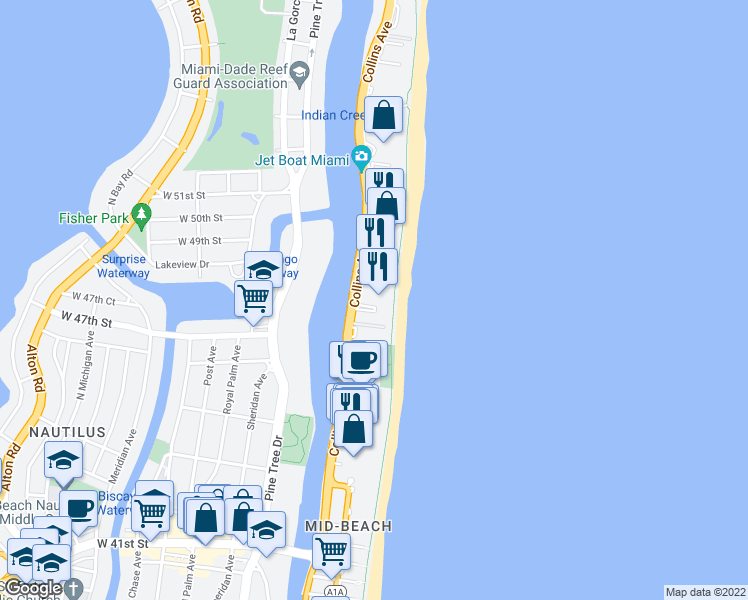 map of restaurants, bars, coffee shops, grocery stores, and more near 4779 Collins Avenue in Miami