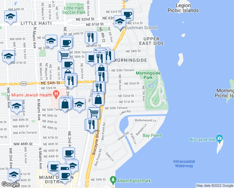map of restaurants, bars, coffee shops, grocery stores, and more near 465 Northeast 52nd Street in Miami