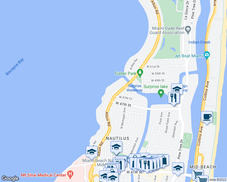 map of restaurants, bars, coffee shops, grocery stores, and more near 4737 North Bay Road in Miami Beach