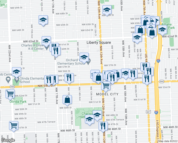 map of restaurants, bars, coffee shops, grocery stores, and more near 5550 Northwest 13th Avenue in Miami