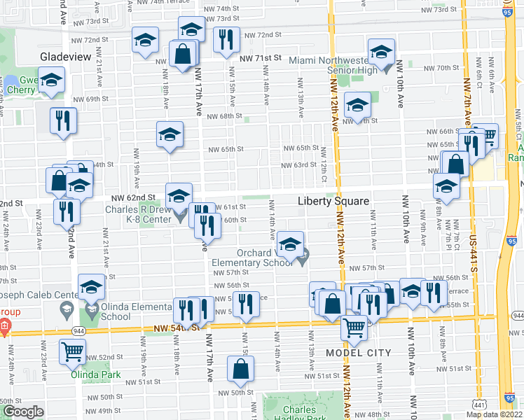 map of restaurants, bars, coffee shops, grocery stores, and more near 1428 Northwest 61st Street in Miami