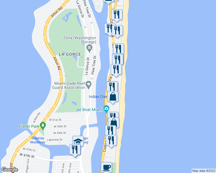 map of restaurants, bars, coffee shops, grocery stores, and more near 5402-5442 Collins Avenue in Miami Beach