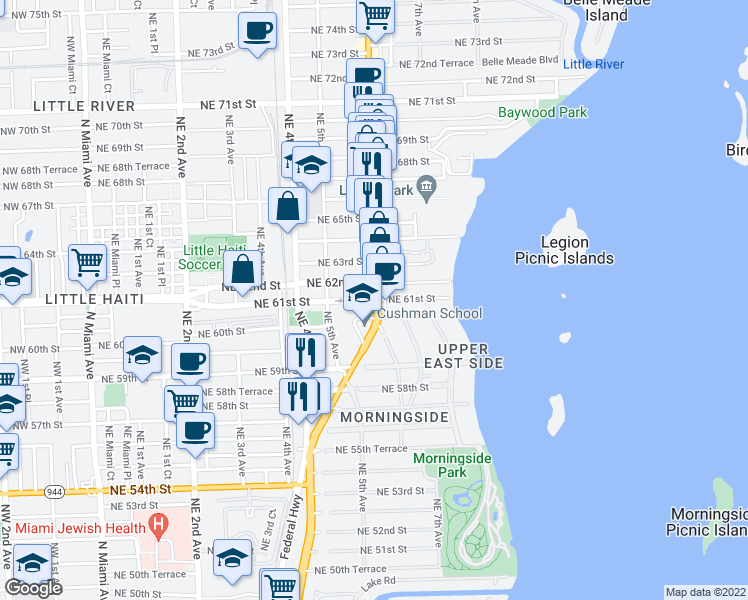 map of restaurants, bars, coffee shops, grocery stores, and more near 6135-6183 Biscayne Boulevard in Miami